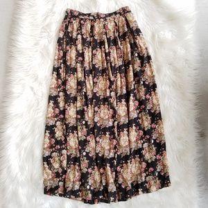 Vintage Black Fall Floral Feminine Midi Skirt Sz 8